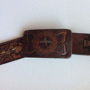 Mayan Design Themed Hand Tooled Brown Belt Size 33